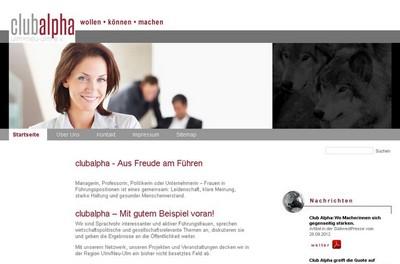 Screenshot der Seite http://clubalpha.net/de/