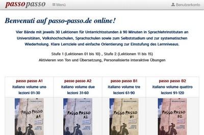 Screenshot von: passo-passo.de - Online Italienisch lernen