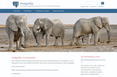 Screenshot von PostgreSQL.de