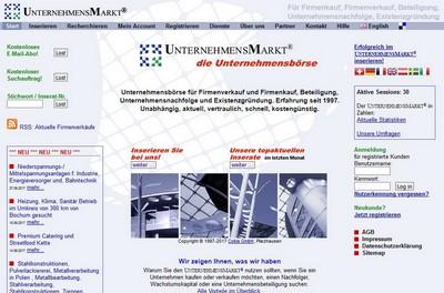 Screenshot von http://www.unternehmensmarkt.de